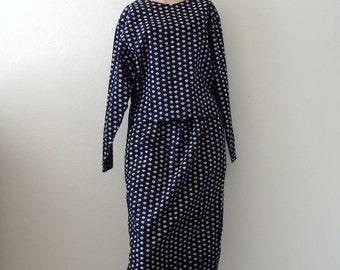 ON SALE 1980s Dress / Ethnic Print  Cotton 2-Piece Skirt & Crop Top