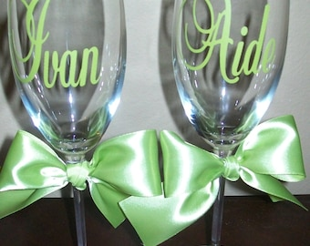 Personalized Wedding Champagne Flutes with names and date