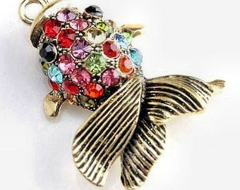 Fish Charm Antique Bronze Tone with 25 CZ Crystals - BC443