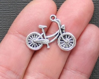 6 Bicycle Charms Antique  Silver Tone - SC889
