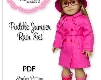 PDF Sewing Pattern for 18 Inch American Girl Doll Clothes - Puddle Jumper Rain Set ePattern