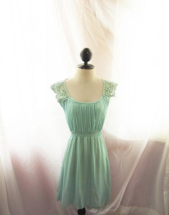Mermaid Tears Seafoam Blue Medieval Mint Green Dress Minty Pleated Marie Antoinette Alice in Wonderland Bohemian Ethereal Jane Austen Dress