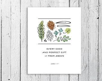Art Print, Bible Verse, Scripture Print // 8 x 10 // GOOD GIFTS