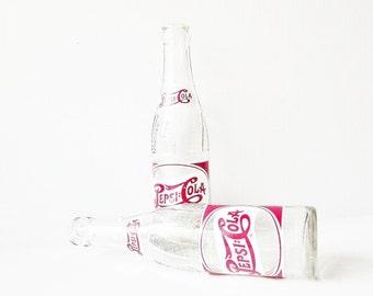 Vintage Pepsi Cola Bottles - Soda Pop Beverage Glass Bottles -1948 Red White Painted Label - Nostalgic Advertisement - Man Cave Decor