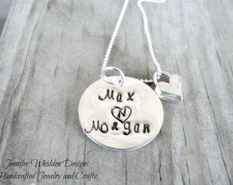 Couples Necklace, Couples Jewelry, Personalized Necklace, Handstamped Necklace,  Name Necklace
