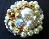 Vintage Faux Pearl and Rhinestone Beaded Brooch
