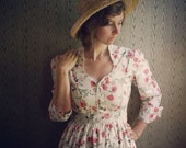 Floral cotton lawn maxi dress with lace detailing and 3/4 sleeves- custom made to measure