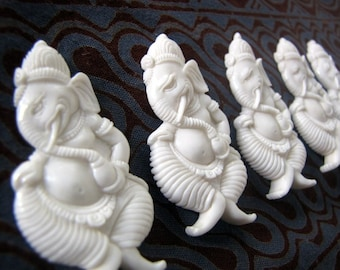 Ganesha Artisan Carved Bone Cabochon