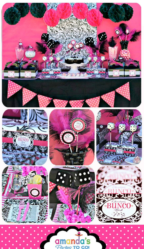 Bunco birthday party printable bunco party decorations for Adult party decoration ideas