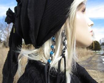Rag Tie Back Slouchy Beanie Wool Hat Black Merino Wool Blend for Women A930