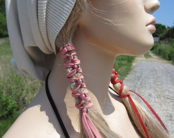Pigtail Holders Suede Hair Wraps Ponytail Holders Beaded Bead Extensions You Choose Colors Z106