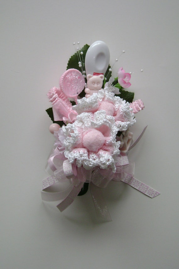 baby shower corsage baby girl washcloth corsage crocheted baby