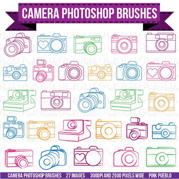 Camera Photoshop Brushes, Photography Photoshop Brushes - Commercial and Personal Use