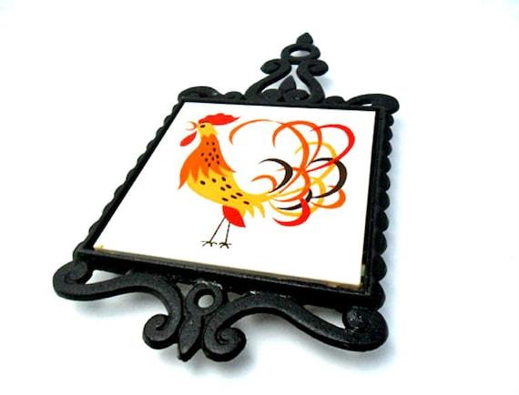 vintage holt howard rooster trivet coq rouge chicken 60s kitchen decor iron trivet ceramic tile