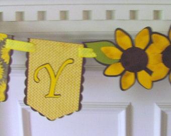 Sunflowers & Burlap Happy Birthday Banner Country Charm Birthday Banner