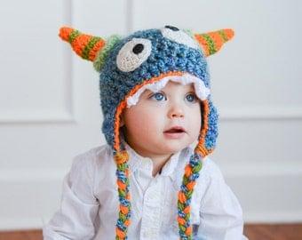 Hat - Monster Hat - Boy Hat  -Crochet Monster Hat - Toddler Monster Hat - Morty the Monster Hat - Halloween Costume - by JoJo's Bootique