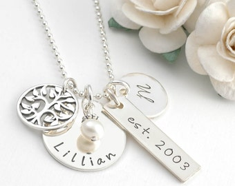 Family Necklace - Personalized hand stamped necklace