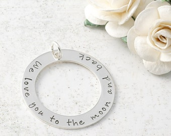 "Add a Charm - 1.25"" sterling silver washer - Your own words or names"