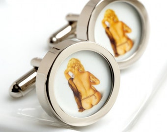 Vintage Blonde Pin Up Cufflinks of a Naked Woman PC292