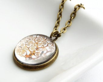 Tree of Life Pendant Necklace Klimt Jewellery Antique Gold Brass Finish from the Beautiful Painting by Klimt