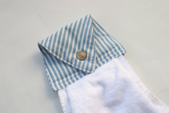 White Hanging Hand Towel - Gold Monogrammed L - Natty Blue Striped Topper