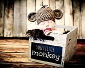 Newborn Photo Prop Baby Monkey Hat