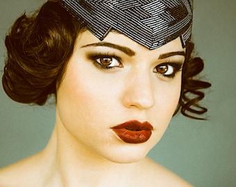 Great Gatsby Flapper Headband Beaded Art Deco Style modern Gunmetal statement headpiece roaring 20s black vintage 1920s inspired party 452