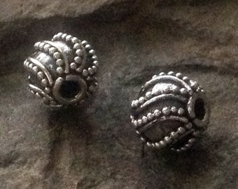 7.5mm Sterling Silver Beads - 2 Swirled and Carpet Granulated Focal Point - Spacer Beads - Oxidized  - MB28