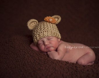 Crochet Baby Bear Beanie Hat - Newborn to 12 months - Bone - MADE To ORDER