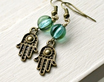 hamsa brass french hook beaded drop earrings yoga jewelry