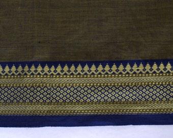 Handloom cotton fabric in Brown and Blue - One yard Yard  VMC 13