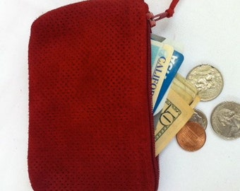 Men's or women's small red perforated leather suede pouch.