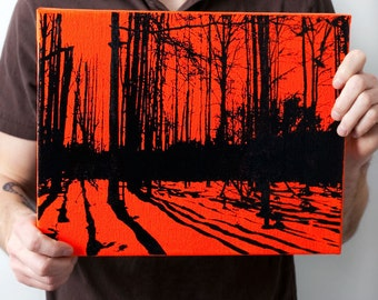 Nature Wall Art: Trees and Shadows Forest Canvas (11 x 14 inches, Orange with Black) Screen Print & Painting Woodlands Home Decor
