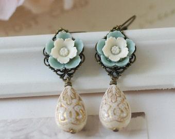Ivory Dusty Blue Powder Blue Dusky Blue Flower Ivory Cream Gold Ornate Acrylic Bead Earrings. Vintage Inspired Lever Back Dangle Earrings