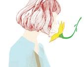 Oxygen mask -  Wall art print, Girl iIllustration print, Home wall decor, Spring print