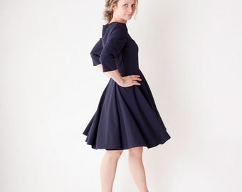 Long sleeve dress, navy blue dress, navy blue prom dress, navy blue bridesmaid dress, 50s dress