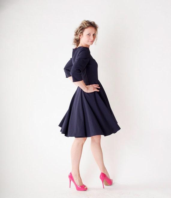 Items similar to Long sleeve dress navy blue dress navy blue ...