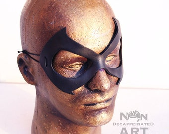 BlackCat Mask - handmade leather costume mask - batman superhero comic cat