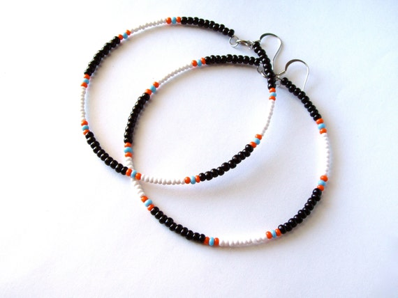 African & Tribal Inspired Large Beaded Hoops - Black, White with Orange, Turquoise accents (La NomRah x Vibrant)