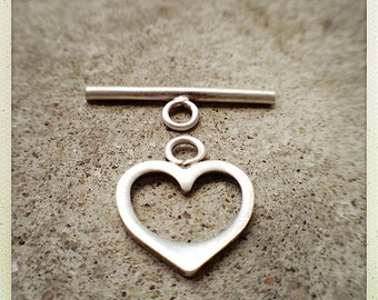 Silver Heart Toggle Clasp-Sterling