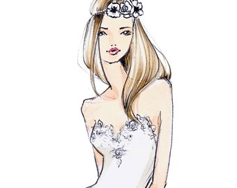 Penny - Boho Bridal Fashion Illustration - by Brooke Hagel