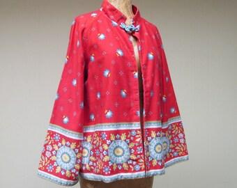 Vintage 1970s Jacket / 70s Red Cotton Folk Print Boho Jacket / Medium