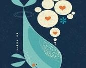 Whale Art Print, Children's Decor, Nursery Decor, Nautical Theme