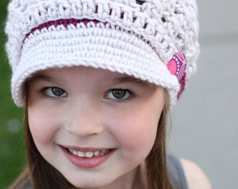 Girl Hat Button Strap Newsgirl Newsboy Crocheted Hat with brim in Linen and Dark Raspberry with a fabric covered button -all sizes available