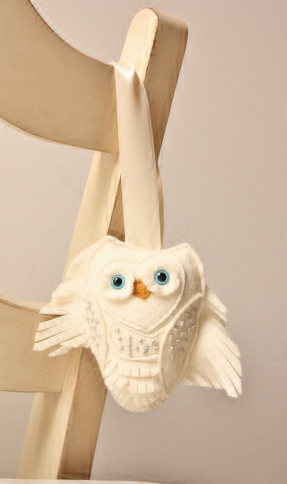 Items similar to snow owl wool felt plush home ornament for Owl decorations for the home