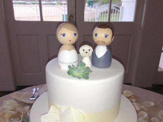 Custom Kokeshi Doll Wedding Cake Toppers with 1 pet