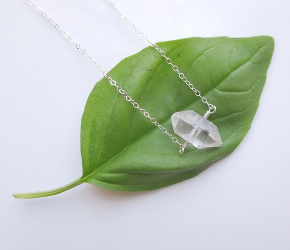 Herkimer Diamond Necklace in Sterling Silver - Raw Quartz Necklace