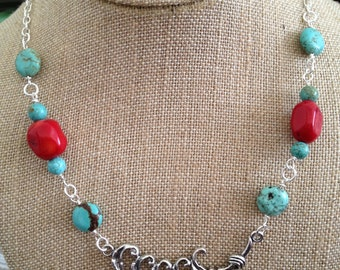 Red Coral and Turquoise Silver Necklace