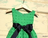 """The """"Audrey"""" Toddler Dress - Green and Navy"""