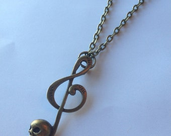 Music Note Skull Bass Clef Unisex Necklace